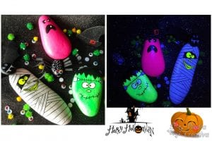 Monstruos en piedras pintadas con luz negra y fluorescente