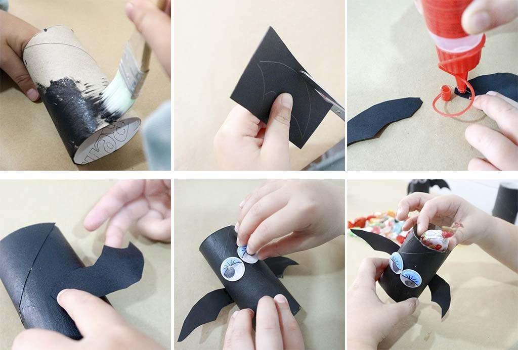 paso a paso para hacer murcielagos con rollos de papel