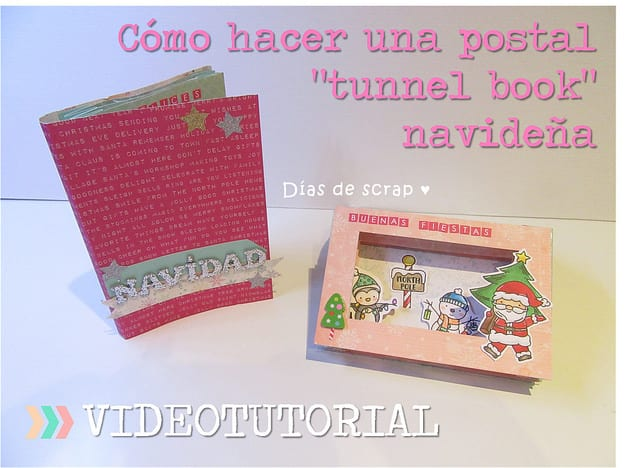 Portada video tutorial postal tunnel book navidad
