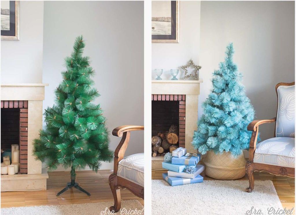 árbol navidad pintado spray