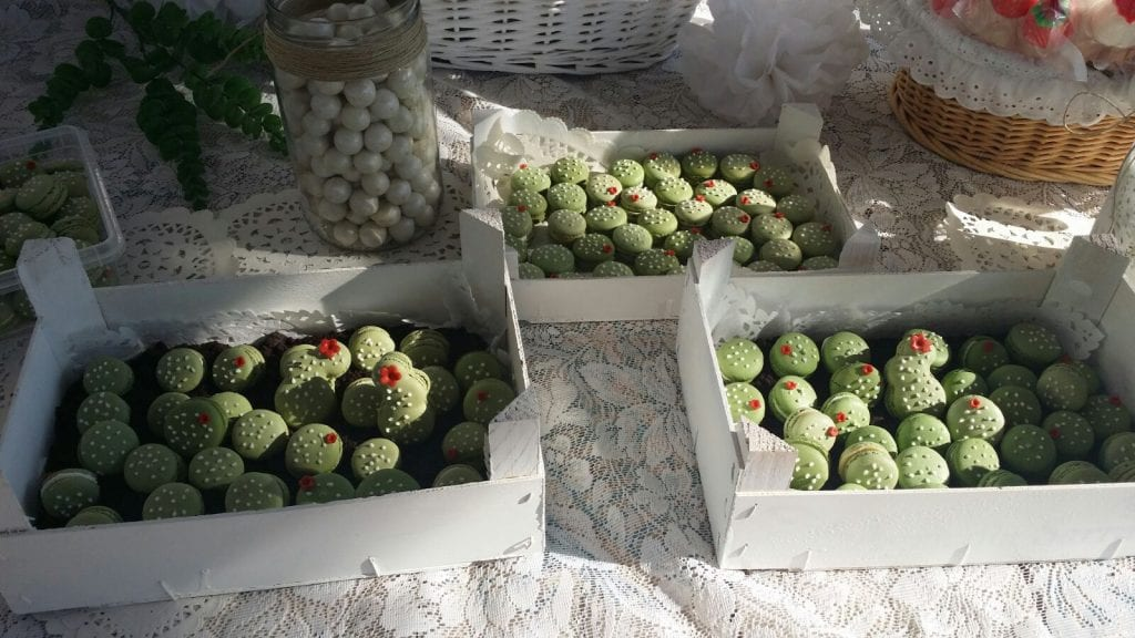 Boda DIY - Detalle de los macarrons con forma de cactus