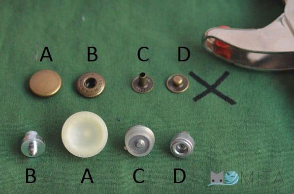 piezas para poner broches a presion