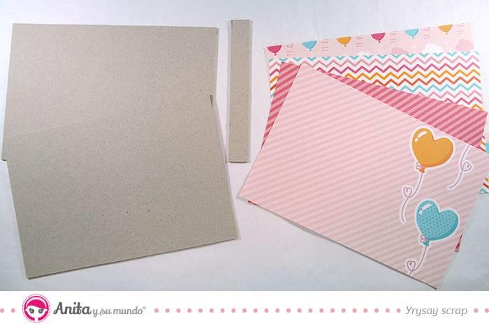 cartón base para hacer álbum scrapbooking