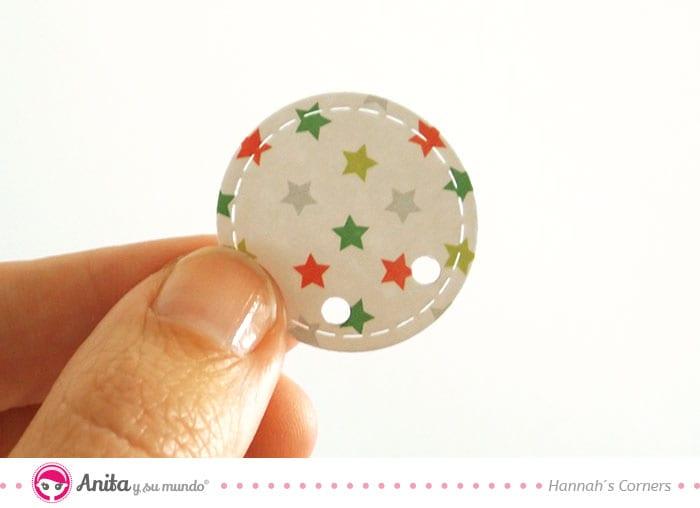 círculo pespuntes tarjeta navidad