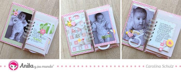 interior mini álbum con papel rosa bebé