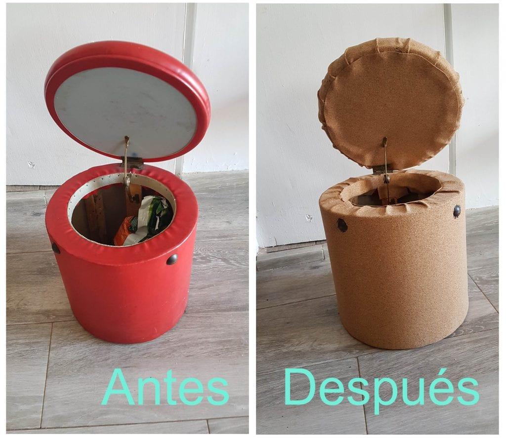 Antes y despues de renovar un puff con corcho adhesivo - Resultado final con la tapa abierta