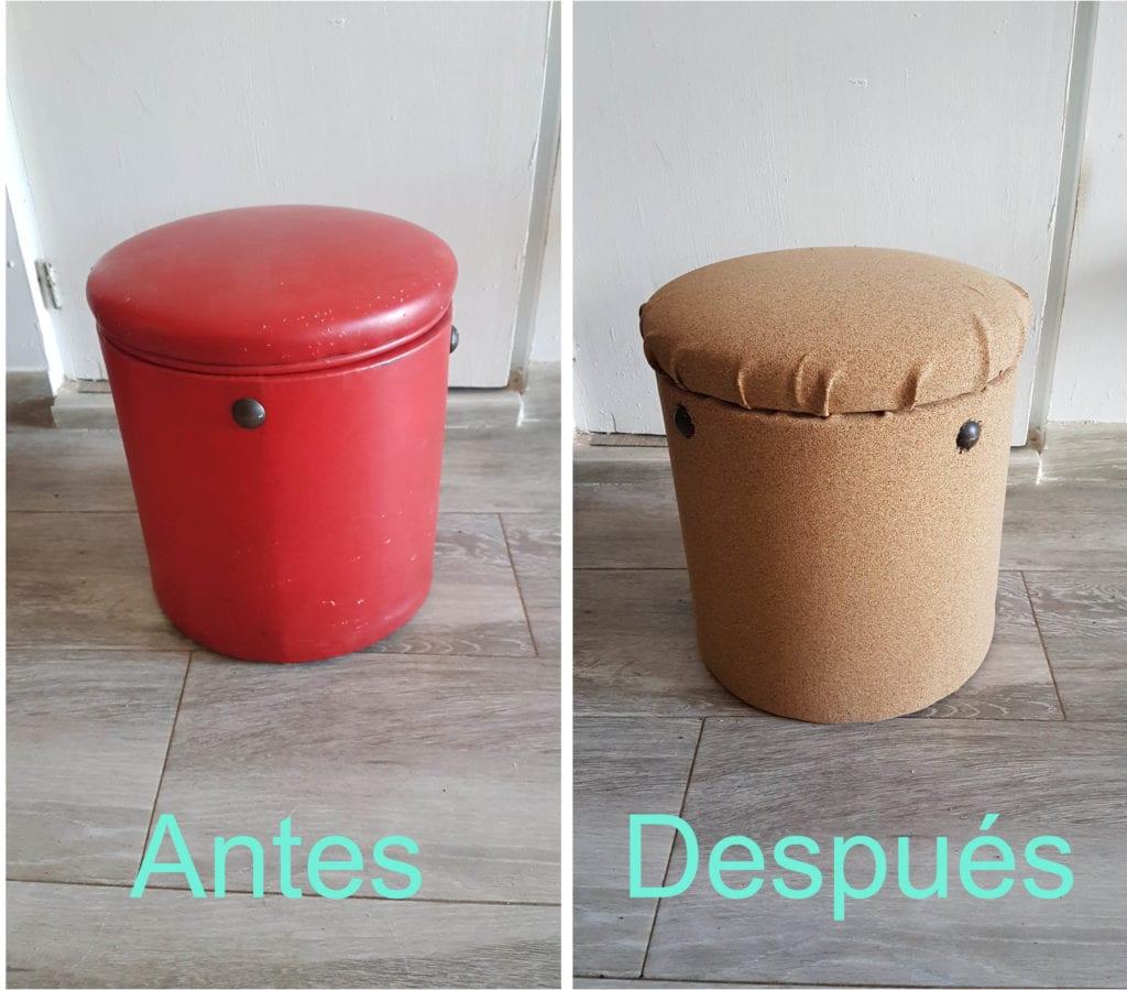 Antes y despues de renovar un puff con corcho adhesivo - Resultado final del diy con corcho