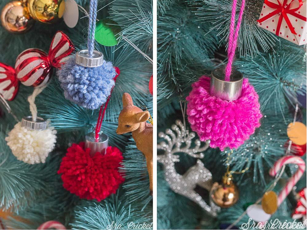 bolas de navidad de pompones de lana
