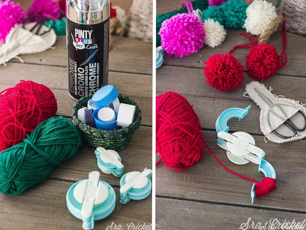 bolas de navidad pompones de lana