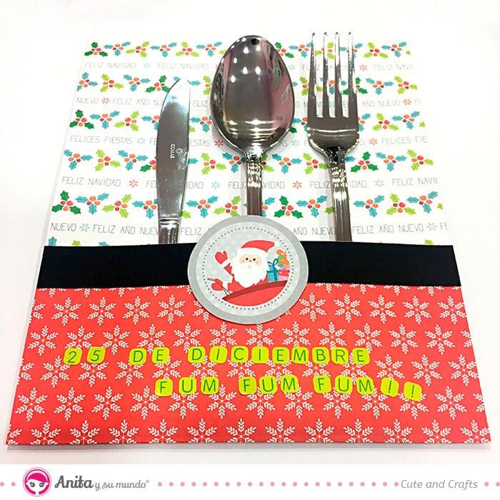 decorar cubiertos para la mesa de navidad