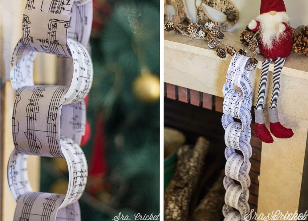 hacer una cadena de papel con partituras