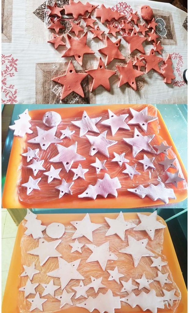 Navidad en cobre - Proceso de secado de los adornos en pasta de modelar