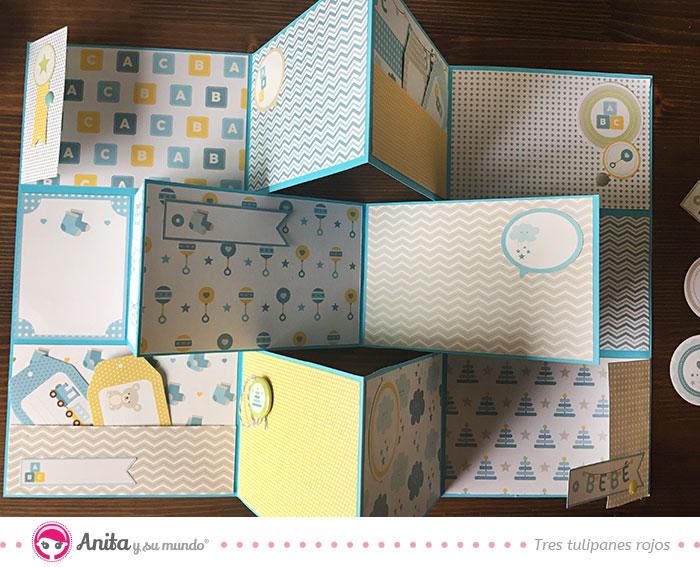 decoración con brads y pegatinas álbum bebé