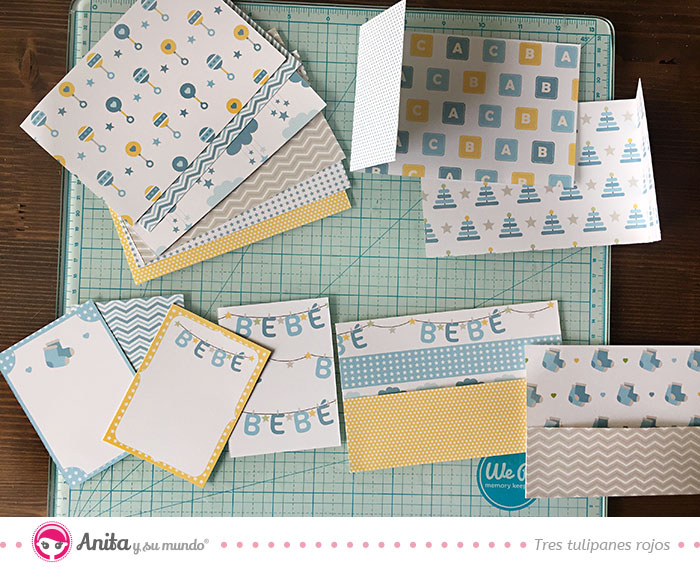decorar álbum con papel scrapbooking bebé