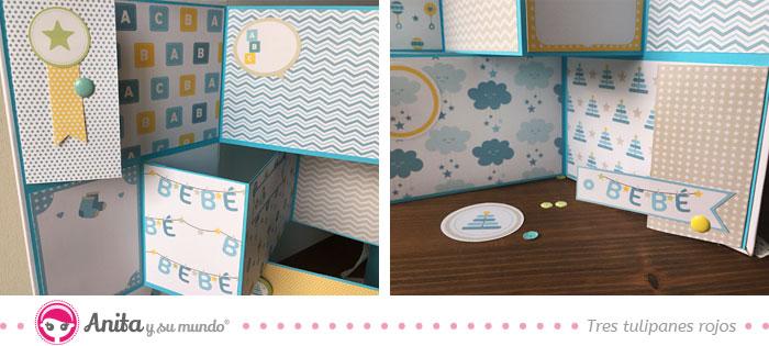 detalles decoración mini álbum plegado zigzag