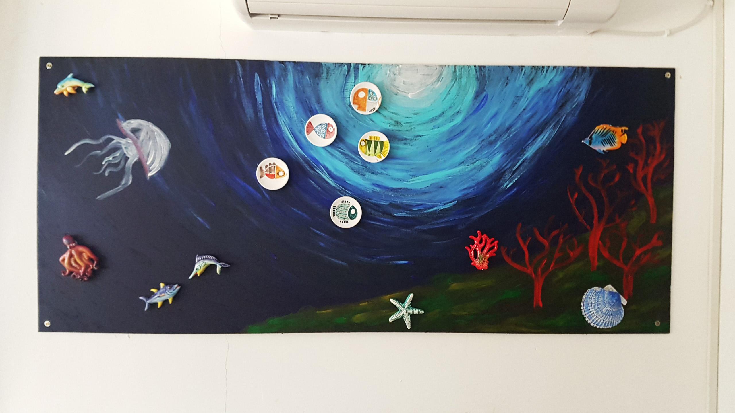 pintura de iman- El mural de fondo marino con imanes de ceramica