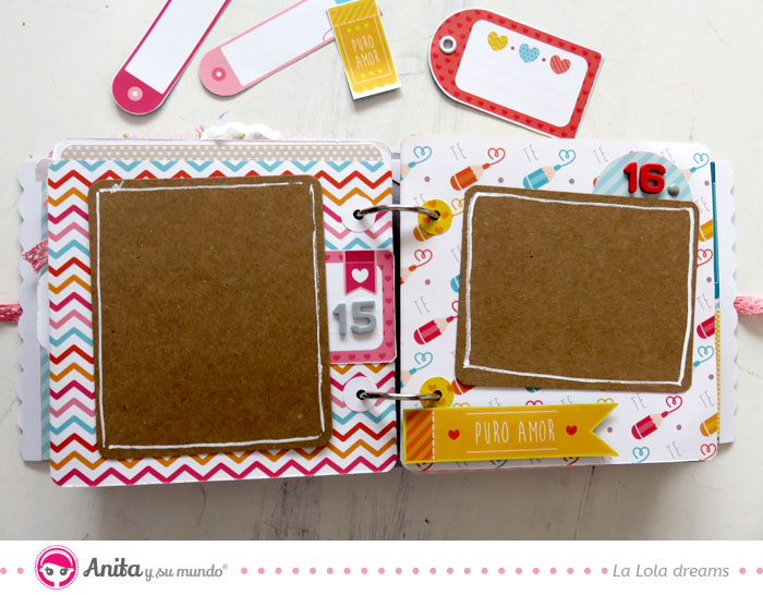 decorar bordes de papel kraft en album scrapbook