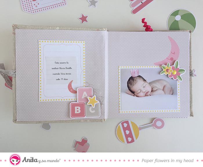 decoración páginas álbum bebé niña