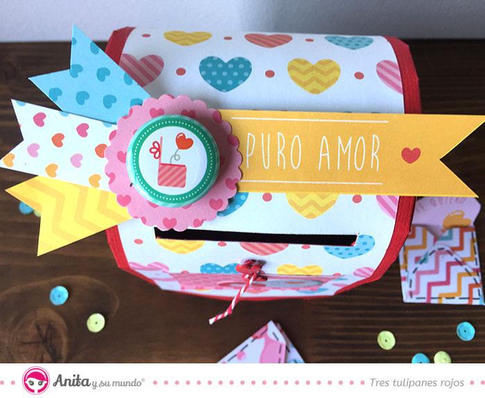 decoración caja regalos brads y etiquetas
