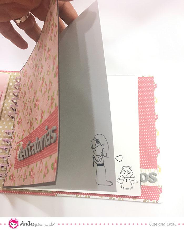 decorar sellos libro de firmas comunión con sellos scrapbooking
