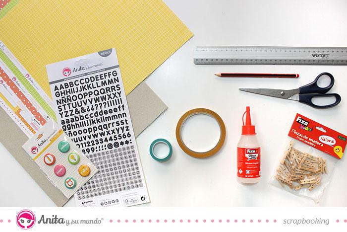 materiales scrapbooking para planificador mensual