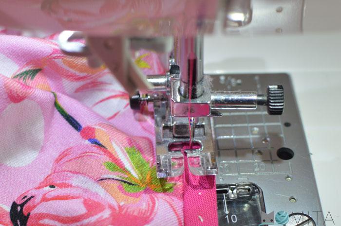 coser un bies al tejido de punto