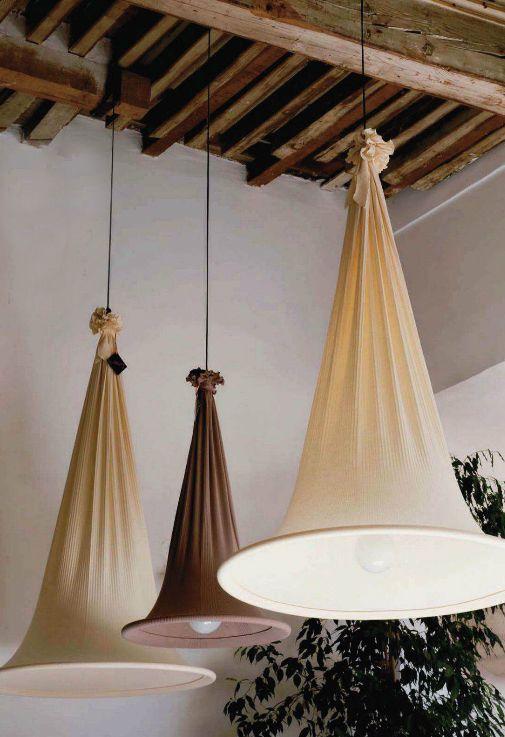 Pantalla de lámpara con tela de saco