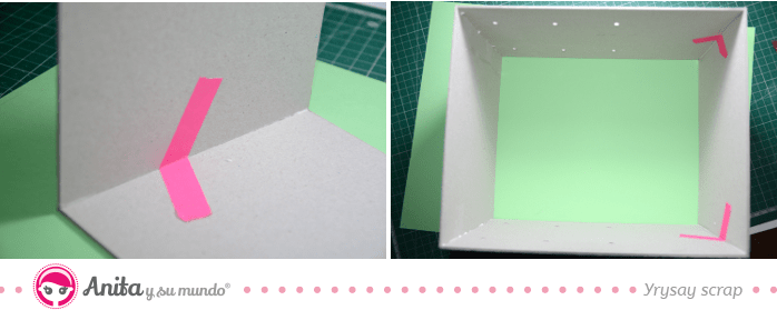 encolar piezas cartón mueble organizador