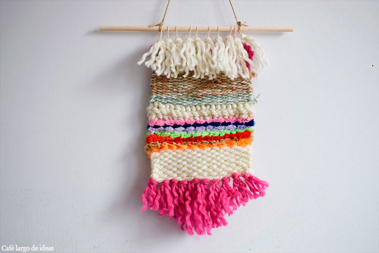 Tapiz de lana y limpiapipas