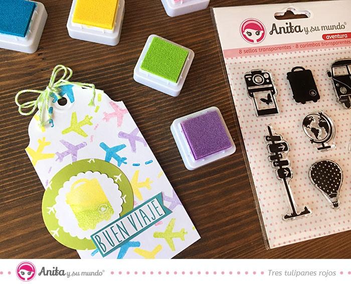 técnica colores sellos decoración scrapbooking