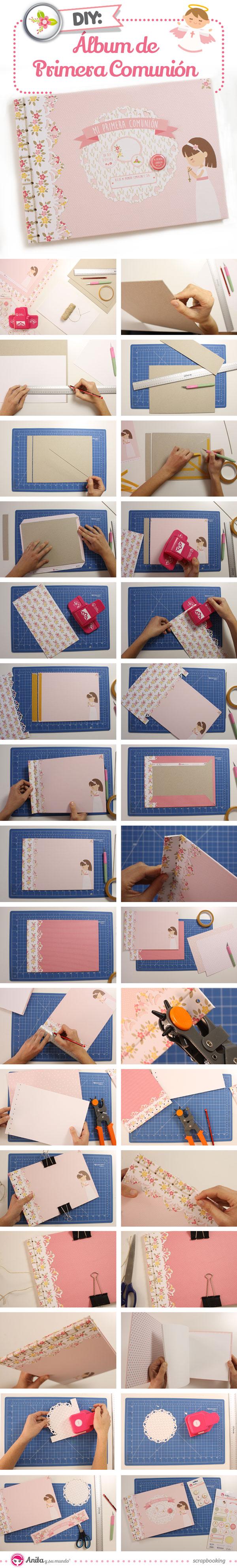 tutorial paso a paso álbum primera comunión niña con encuadernación japonesa