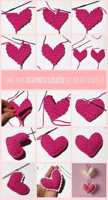 patrón corazón de crochet