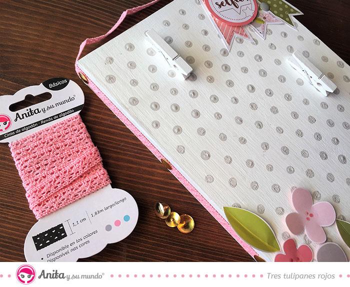 usar puntilla de algodón de Anita en proyectos de scrapbooking