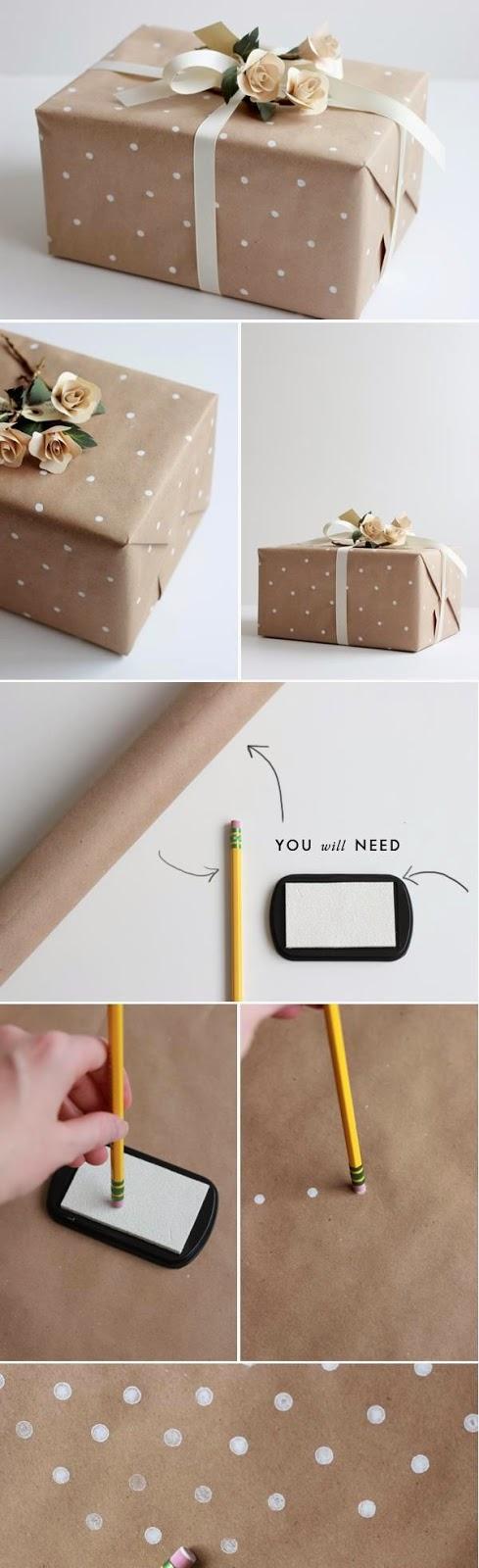 Como hacer lunares sobre papel kraft