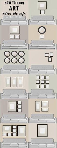 decorar el espacio sobre el sofa - como organizar cuadros sobre el sofa