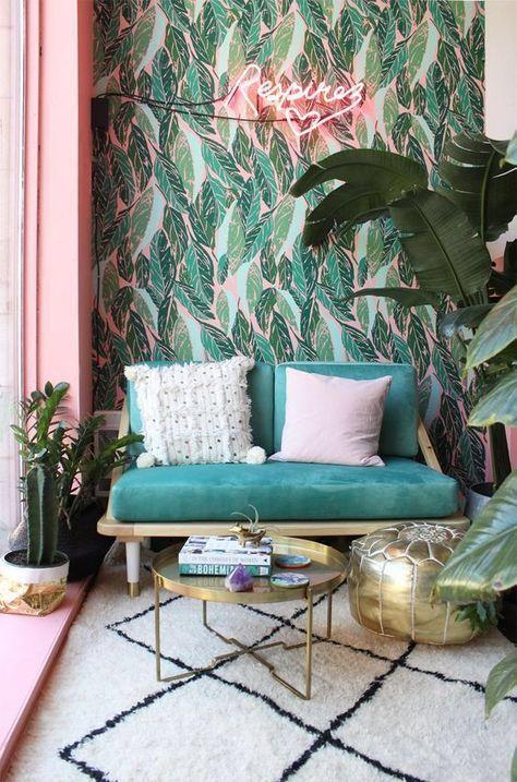 decorar el espacio sobre el sofa - papel pintado decorativo