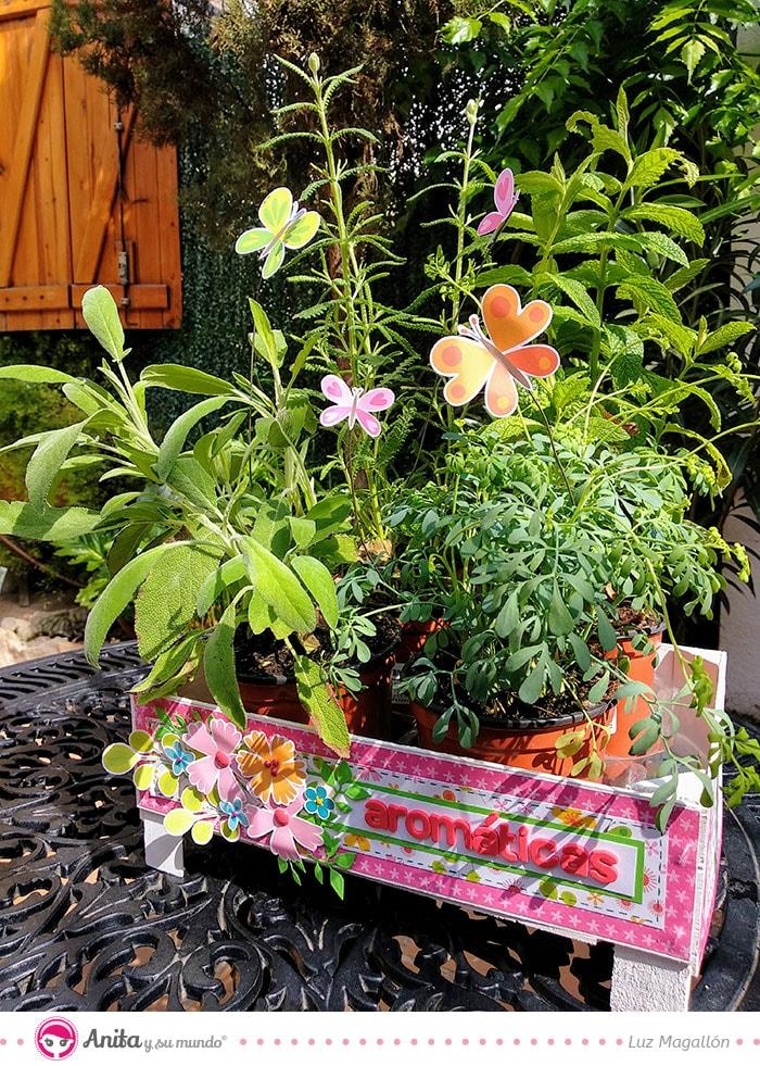 jardinera decorada papel estampado