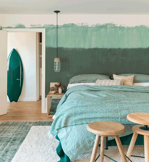 Dormitorio en verdes