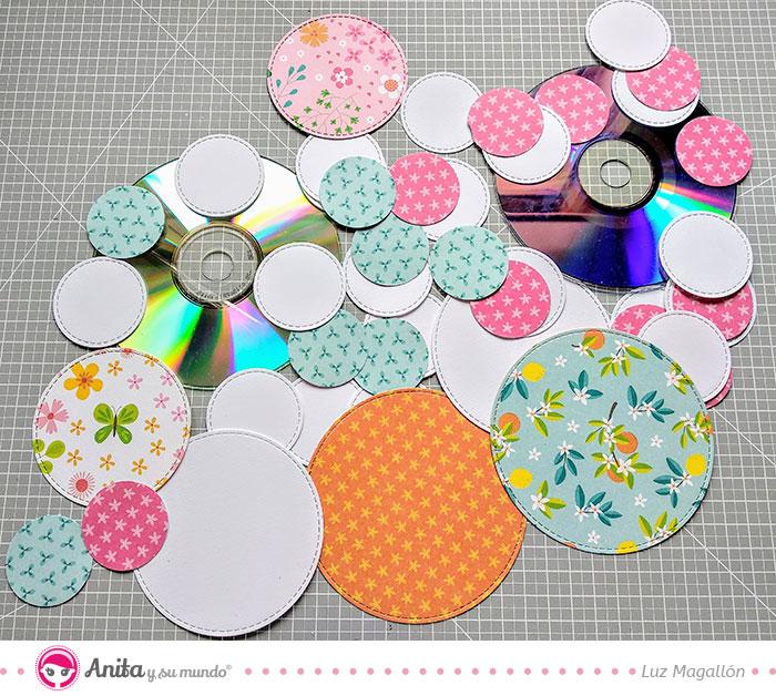 troquelar círculos con papel decorado