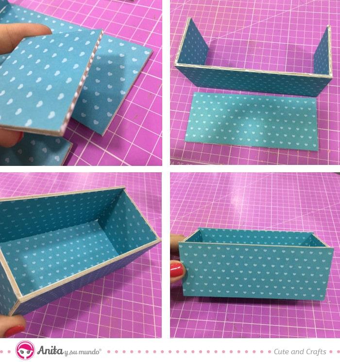 como ensamblar caja de cartón contracolado scrapbooking