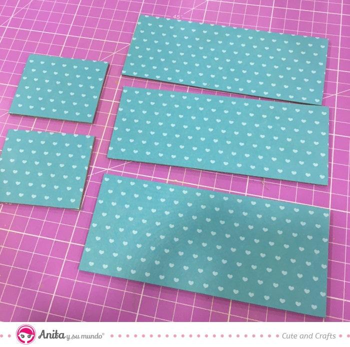 forrar piezas caja papel scrapbooking