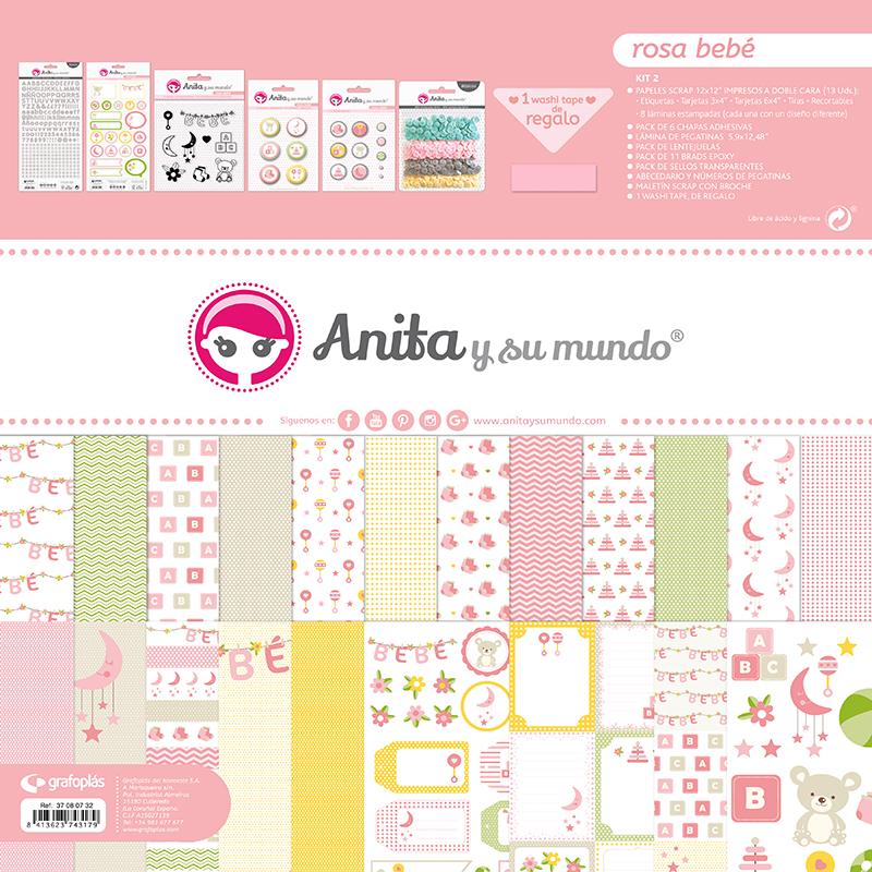 kit maletin de scrapbooking rosa bebé