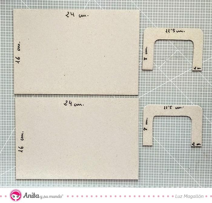 piezas de cartón para hacer una carpeta maletín