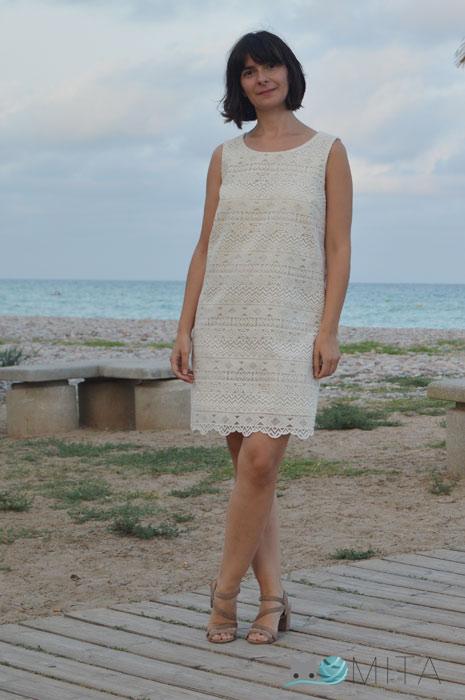 vestido organza bordada