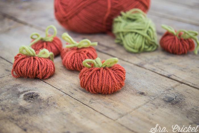 calabazas de lana manualidades halloween