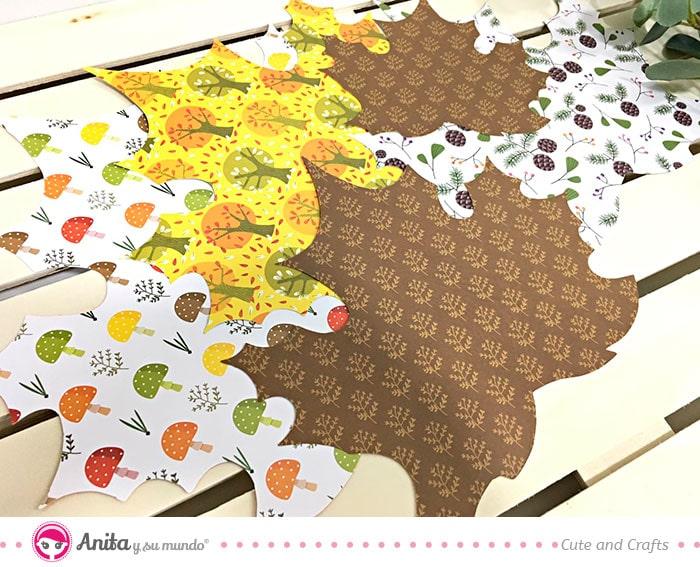 hojas otoño de papel estampados para album de scrapbooking