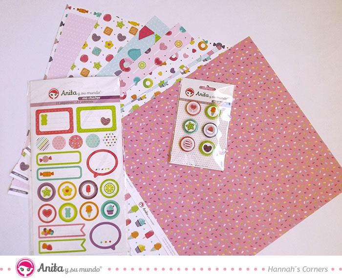 papeles y pegatinas de scrapbooking de la colección mis chuches de Anita y su mundo
