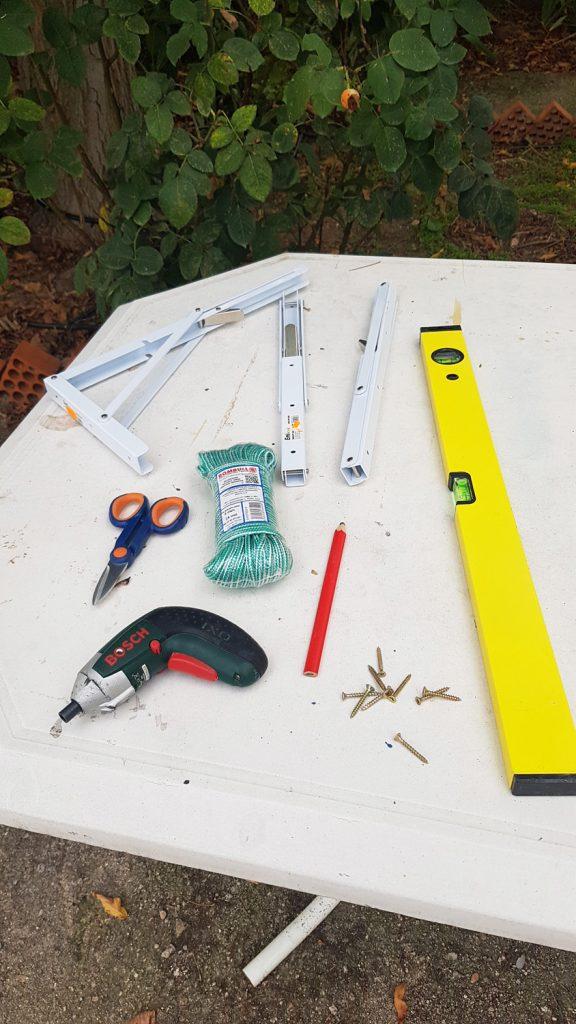 Tendedero plegable DIY - material necesario