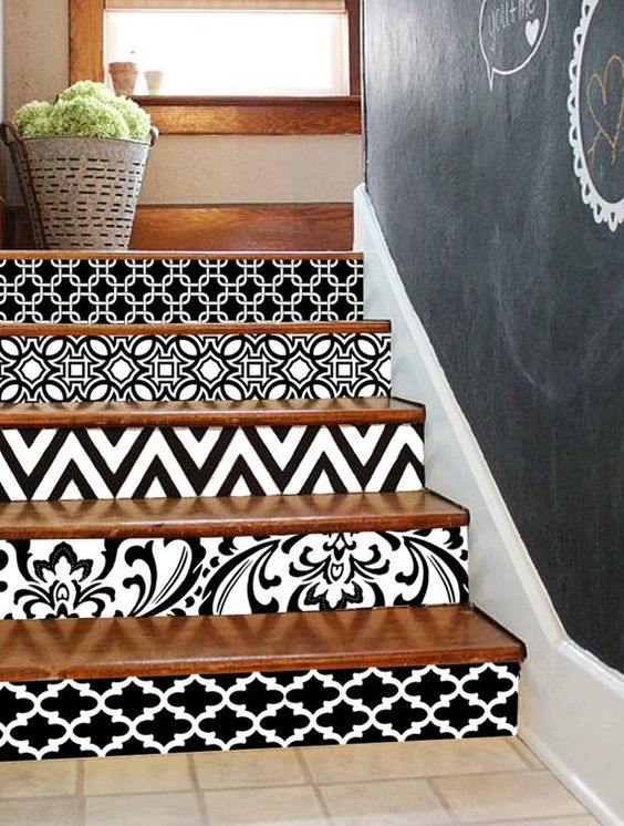 Pizarra decorar las escaleras