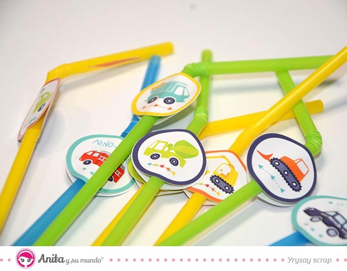 como decorar pajitas para cumpleaños infantil